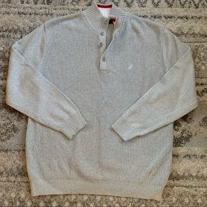 Nautical Gray Knit Henley Pullover Sweater XXL